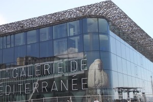 Marseille's modern European and Mediterranean Civilizations Museum (referred to everywhere as MuCEM). The structure's black exterior has a surprisingly light and airy texture when seen up close.