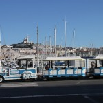One of the several trains that take tourists on sightseeing rides in downtown Marseille.