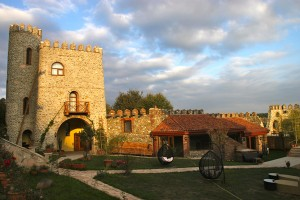 The courtyard at the Chateau Mere, a 17-room hotel in Georgia's Kakheti wine country. The tower at left houses guests.