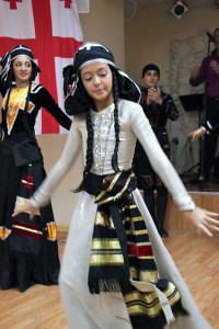 A young performer demonstrates traditional Georgian dancing in a program for travel agents in Brooklyn, N.Y., in advance of a travel agent familiarization trip for agents.