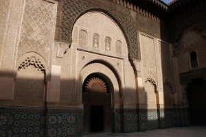 The refurbished Ben Youssef Madrasah, which illustrates components of traditional Moroccan architecture, including the carved wood, delicately sculpted plaster and hand-cut tiles.