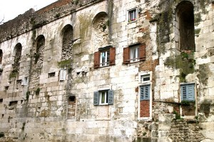 A section of wall on the north side of Diocletian's Palace.