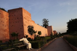A section of Marrakech's historic adobe city walls.