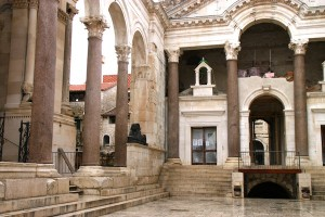 The Peristyle, the central square in Diocletian's Palace. This view faces the entrance to the emperor's private quarters.