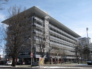 Modern Zagreb office building, called Eurocenter, within walking distance of the historic city center.