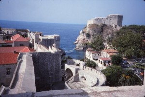 View of Dubrovnik's fortifications seen from atop the walls in 1993. Another part of old defenses, the Lovrijenac Tower, is visible at upper right. These features are every bit as dramatic today.
