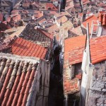 Rooftops in Dubrovnik's Old Town seen from the city walls in 1993. Differences between old and new tiles are still apparent.