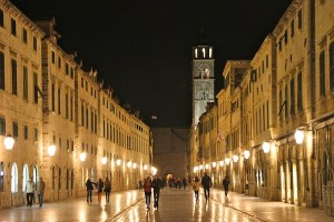Nighttime view of the Placa in Dubrovnik's Old Town.