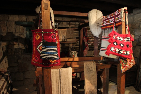 Samples of traditional handwoven Croatian goods, seen in the Ethnoland museum.