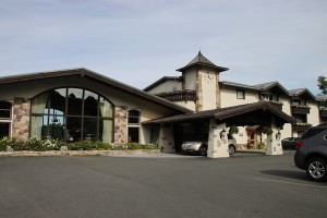 Facade of the Golden Arrow Lakeside Resort in Lake Placid, N.Y.