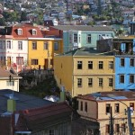Colorful houses, with corrugated exterior walls, in the hills of Valparaiso.