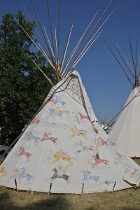 Wonderful painted teepee on the grounds of the Crow Fair.