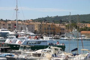Some of the visiting boats moored in the harbor at the edge of Saint-Tropez, a fishing village gone upmarket.