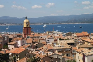 Rooftops in Saint-Tropez, seen from the height of the village's 16th century citadel.