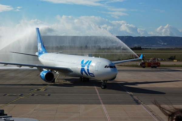 A celebratory spray showering an XL Airways aircraft at Marseille.