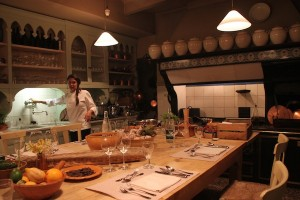 The basement kitchen at La Mirande Hotel, where visitors may take cooking classes or even have dinner.