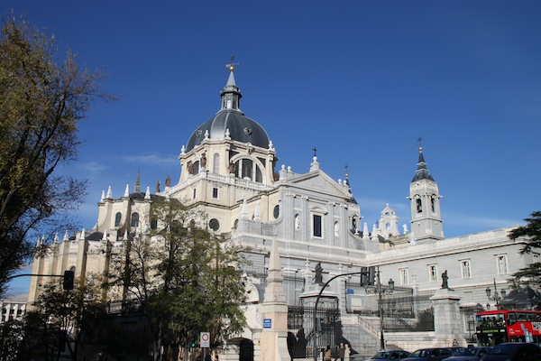 The Almudena Cathedral in the historic center of Madrid.
