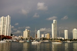The Inner Harbor with a few of the high-rises that typify some of Cartagena's modern neighborhoods.