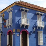 A rich pink for the trim offsets the blue of this house at the corner of the Plaza de San Diego in Cartagena's Old Town.