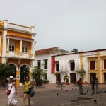 On Cartagena's Plaza de San Pedro, the Cafe San Pedro is in the building at left. The shorter building at right is the Museum of Modern Art.