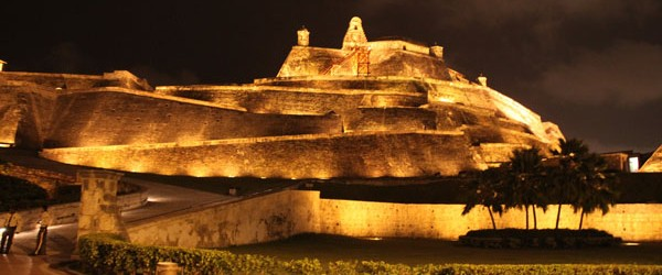 The San Felipe de Barajas fortress seen at night.