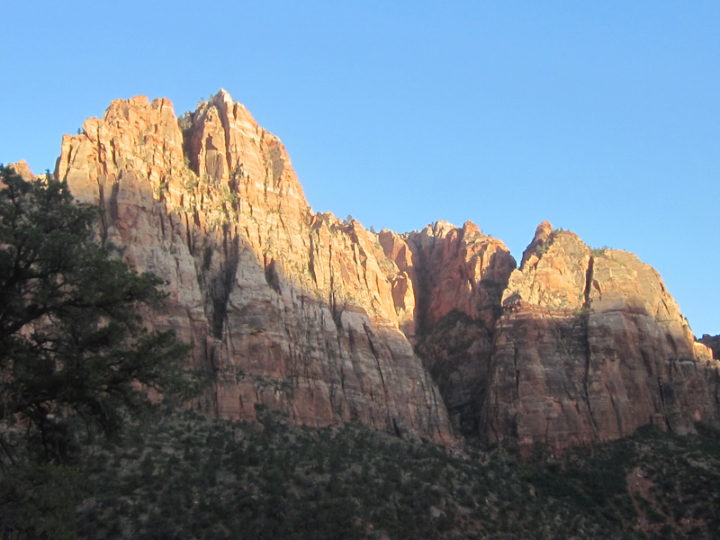 The canyon walls at sunset from the Watchman Trail.
