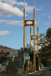 "The pedestrian bridge in Kamloops, B.C., which welcomes strollers to the top with a cheeky sign, saying, ""Congratulations! You made it to the top."""