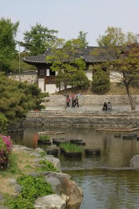 A pond on the grounds of the Namsangol Hanok Village.