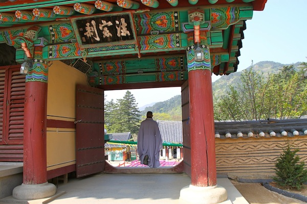 Do Moo Zee leads the way through one of several gates at Haeinsa.