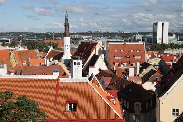 View of Tallinn's Lower Town rooftops, seen from a viewing point on Toompea Hill. The steeple of St. Olaf's Church rises above it all.