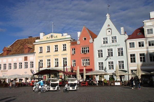 Tallinn's Town Hall Square, where old houses are often now restaurants with outdoor seating in good weather.